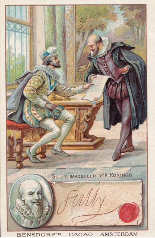 Duke of Sully Maximilien de Béthune Printed Signed Bendorps Cocoa Old Trade ...