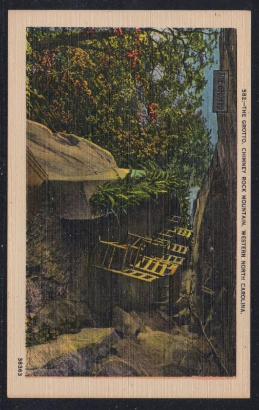North Carolina colour PC The Grotto Chimney Rock Mountain, unused