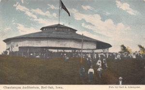 Red Oak Iowa~Crowd of Folks Leaving Chautauqua Auditorium After Event c1910