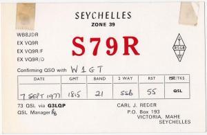 QSL, S79R, Victoria, Seychelles, 1977