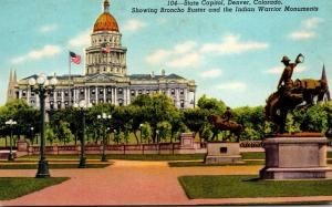 Colorado Denver State Capitol Showing Broncho Buster and Indian Warrior Monum...