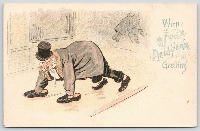 New Year Comic~Inebriated Old Gent Crawls Home w/ Shoes on Hands & Feet~1905