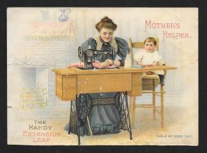 VICTORIAN TRADE CARDS Singer Cabinet-Table Sewing Machin Mothers Helper c1899