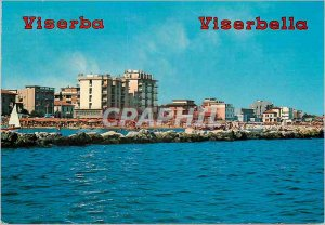 Postcard Modern Viserba Hotels and beach seen from the sea