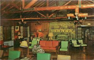 Corbin Kentucky~Cumberland Falls State Park~DuPont Lodge~Lounge~1960s Postcard