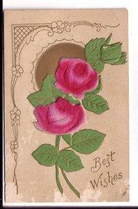 Best Wishes, Fancy Appliqued Velvet Pink Flowers Embossed,