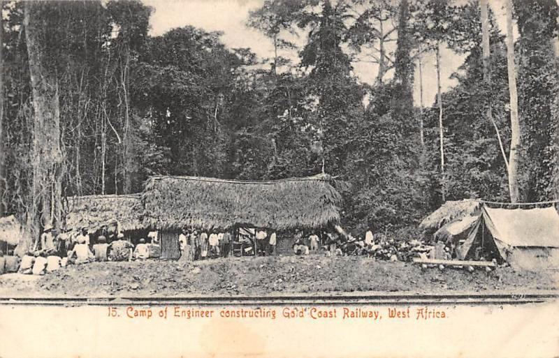 Ghana Gold Coast Camp of Engineer constructing railway postcard