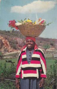 Typical Jamaican Scene, Woman with basket on head, Jamaica, West Indies, 40-60s
