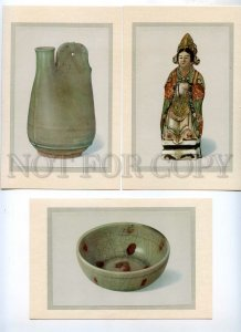 434295 CHINA treasures antiquity set 7 postcards-images on mat original cover