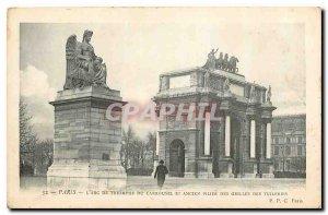 Old Postcard Paris Arc de Triomphe du Carrousel and anvien pillar grids Tuile...