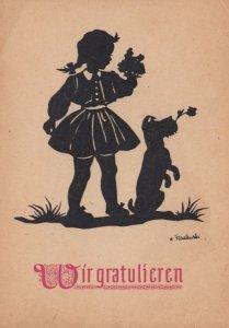 Silhouette ; Girl & Dog , 20-30s