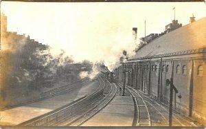 Boston MA Railroad Station Train Depot Real Photo Postcard