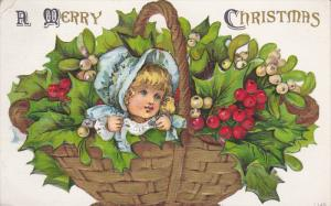 CHRISTMAS : Child & holly in a basket , PU-1908