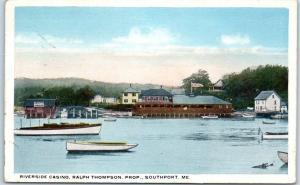 Southport, Maine Postcard RIVERSIDE CASINO, Ralph Thompson Prop. 1917 Cancel