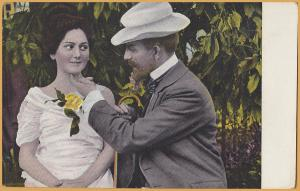 Vintage Romance-Old man tickling young lady's chin, Yellow Rose