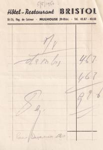 Hotel Restaurant Bristol Mulhouse 18 Avenue de Colmar 1950 Receipt