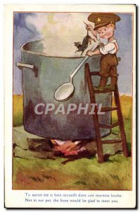 Postcard Old Child Mouse Rat Army