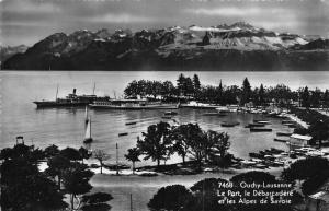 Switzerland Ouchy Lausanne Le Port le Debarcadere Boats Lake Postcard