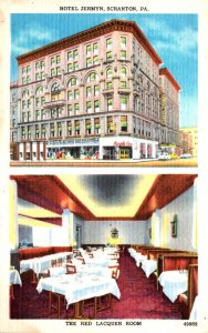 Pennsylvania Scranton Hotel Jermyn Showing The Red Lacquer Room