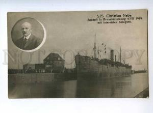 235460 WWI GERMANY Brunsbuttelkoog Ship Christian Nebe interne