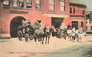 Providence RI Fire Department Engine Company #11 Horse & Fire Wagons Postcard