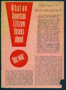3rd Reich Germany V1 Propaganda Leaflet POW Letters What An American Citiz 91594