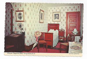 Long Island NY Oyster Bay Sagamore Hill Alice Roosevelts Bed Room Postcard 4X6