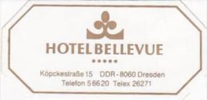 GERMANY DRESDEN HOTEL BELLEVUE VINTAGE LUGGAGE LABEL