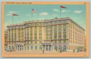 Boston Massachusetts~The Downtown Copley Plaza Hotel~1940s Linen Postcard