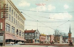 Lewiston ME~Well-Wired Haymarket Square~Haskell Retail~Ariel Factory Cigar~1910
