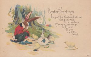 EASTER , 00-10s ; Dressed rabbit watch baby rabbit hatch out of an egg