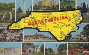 Greetings From North Carolina With Map 1954