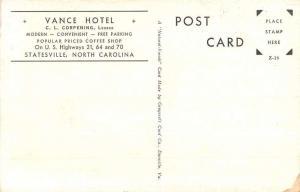 Statesville North Carolina Vance Hotel Street View Antique Postcard K94066