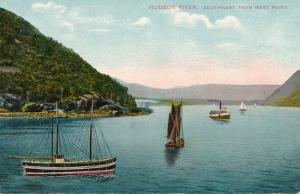 Sailing Ships and Steamers - Hudson River from West Point NY - Theochrom - DB