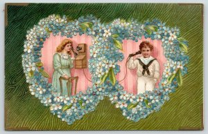 Victorian Valentine~Boy & Girl in Flower Hearts~Vintage Wall Telephones~Germany