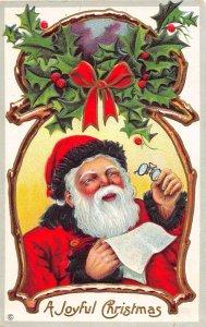 F99/ Santa Claus Christmas Postcard c1910 Spectacles List Holly 16
