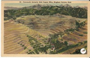 Kennecott, Formerly Utah Copper Mine, Bingham Canyon Utah Vintage Linen Postcard