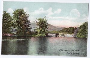Chocorua Lake NH Postcard Rustic Bridge ca 1910 Leighton