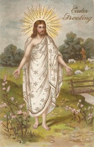 Jesus risen. Blessing the fields Nice vintage A,merican relñigious postcard