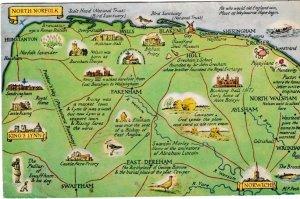 postcard map of NORTH NORFOLK J Salmon