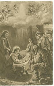 Painting, Baby Jesus, early 1900s used Postcard