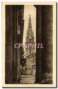 Old Postcard Saint Malo The bell tower of the cathedral