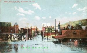 1909 Wheeling West Virginia Postcard: Scene from 1907 Flood