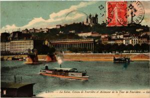CPA LYON La SAONE Coteau de FOURVIERE et Escenseur de la Tour (462132)