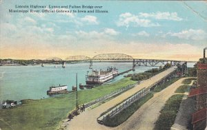 Lincoln Highway, Lyons and Fulton Bridge over MIssissippi River, Official Gat...