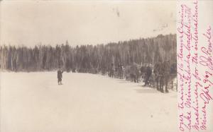RP: 16 Horse sled of mining equipment crossing Lake Minnehaha , Minnesota , 0...