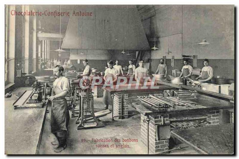 VINTAGE POSTCARD Chocolate factory Confectionery Antoine Fab