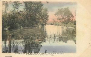 C-1910 Milwaukee River Cambellsport Wisconsin Paas hand colored postcard 12130