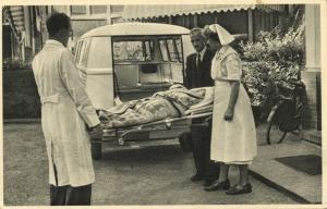 netherlands, On the Way to the Hospital, Ambulance (1950s) Postcard