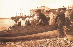 Nostalgia Postcard Victorian Boating Trip at the Seaside Fashion Dress Repro NS3
